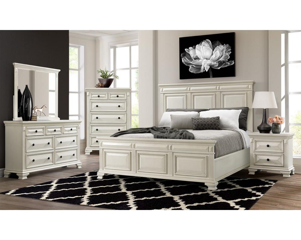 Good Deal Charlie Inc Calloway White King Bed Dresser Mirror Nightstand Bedroom Suites Bedroom