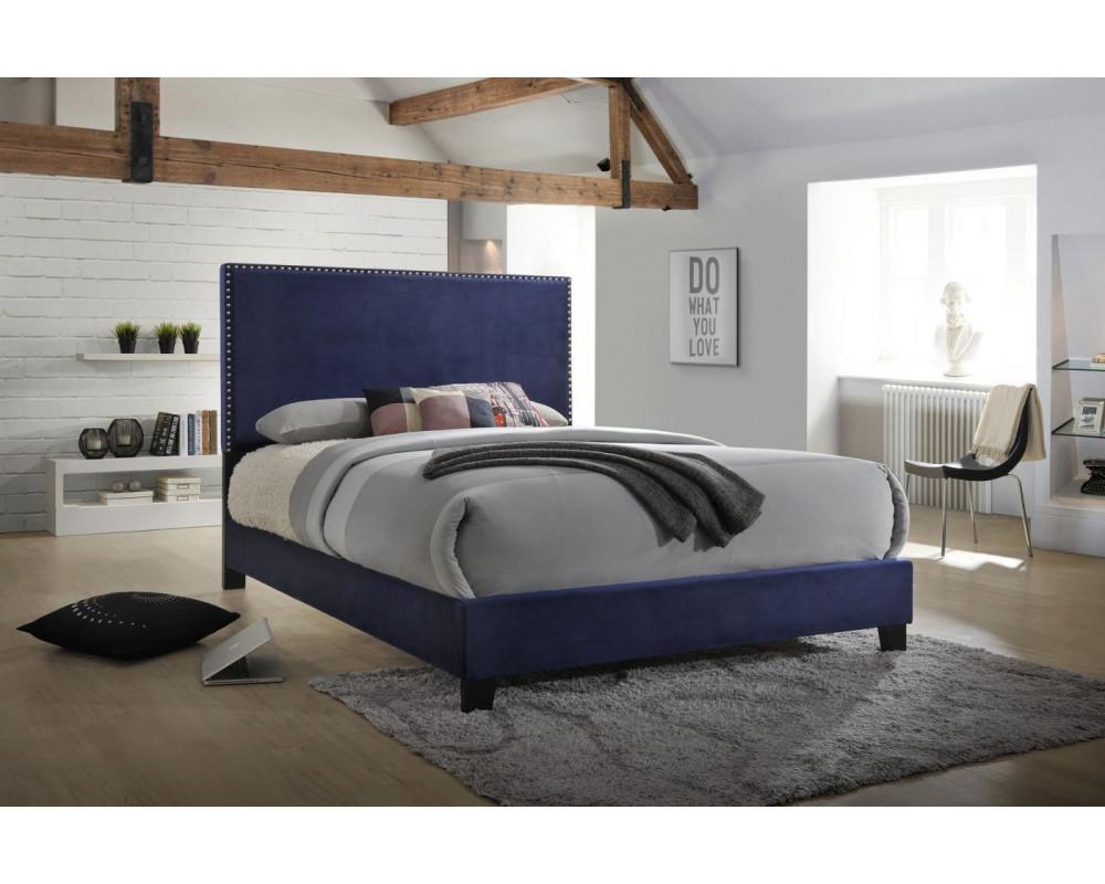 Erin Navy King Nailhead Bed