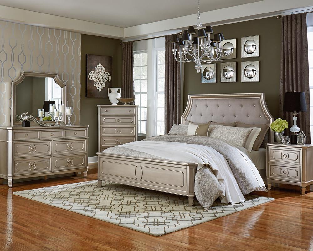 Windsor Silver King Bed, Dresser, Mirror, & Nightstand