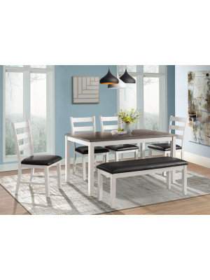 Martin Dining Table, 4 Chairs, & Bench