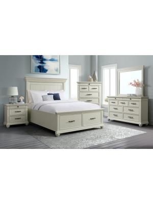 Slater White King Bed, Dresser, Mirror, & Nightstand