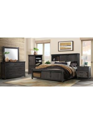 Scott Dark King Bed, Dresser, Mirror, & Nightstand